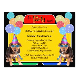 German Shepherd Puppy Birthday Barker Personalized Invitations