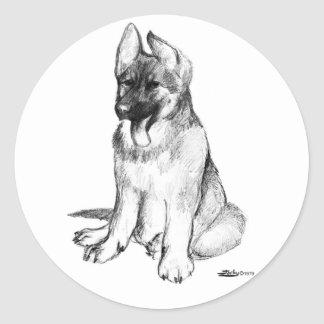 German Shepherd Puppy Classic Round Sticker