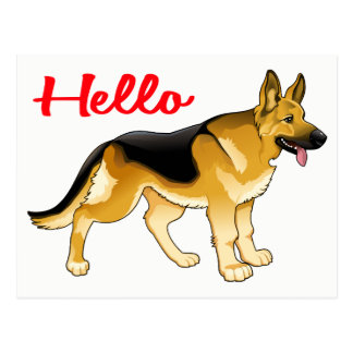 German Shepherd Puppy Dog  Hello, Thinking of You Postcard