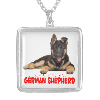 German Shepherd Puppy Dog Red Love Hearts Silver Plated Necklace