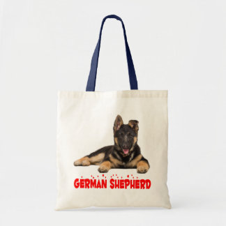 German Shepherd Puppy Dog Red Love Hearts Tote Bag