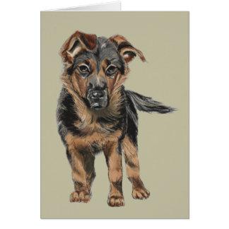 German Shepherd Puppy Drawing Card