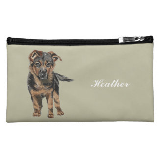 German Shepherd Puppy Drawing Cosmetic Bag