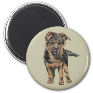 German Shepherd Puppy Drawing Magnet