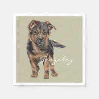 German Shepherd Puppy Drawing Napkin