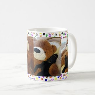 German Shepherd Puppy & Giant Teddy Bear, ZKA Coffee Mug