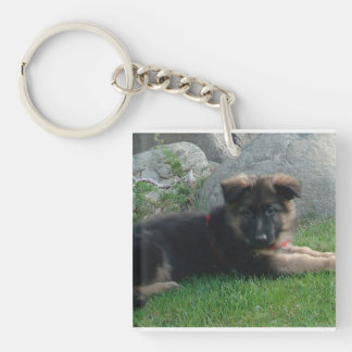german shepherd puppy laying 2.png keychain