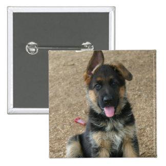 German Shepherd Puppy Square Pin