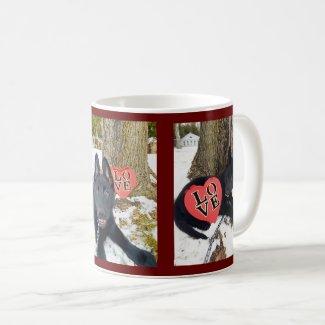 German Shepherd Puppy Valentine, Love & Rose, ZKA Coffee Mug