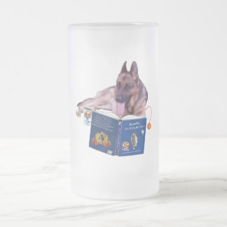 German Shepherd Reading 16 oz Frosted Glass Mug