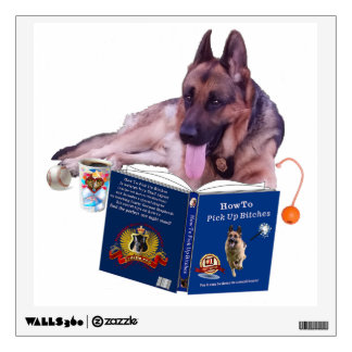 German Shepherd Reading Book Wall Decal