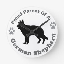 German Shepherd Round Clock