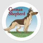 German Shepherd Round Stickers