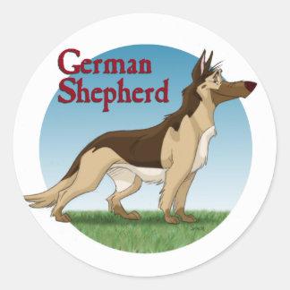 German Shepherd Round Stickers
