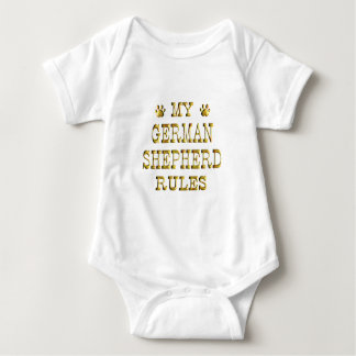 German Shepherd Rules Gold Baby Bodysuit