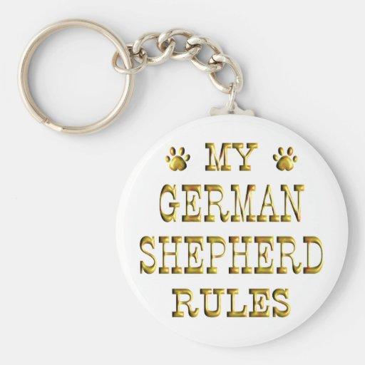 German Shepherd Rules Gold Key Chain