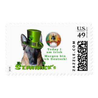 German Shepherd Saint Patrick's Day Postage