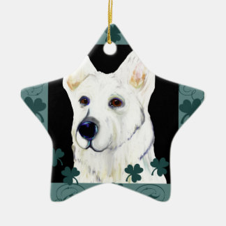GERMAN SHEPHERD SAINT PATTY CERAMIC ORNAMENT