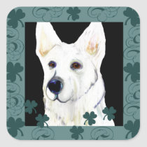 GERMAN SHEPHERD SAINT PATTY SQUARE STICKER