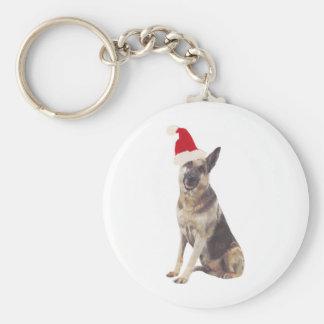 German Shepherd Santa Hat Basic Round Button Keychain