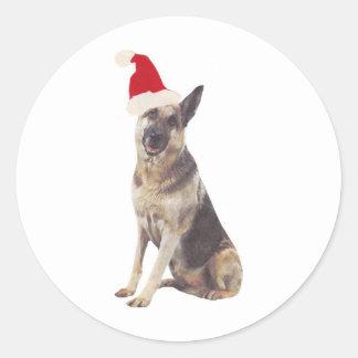 German Shepherd Santa Hat Classic Round Sticker