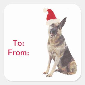 German Shepherd Santa Hat Gift Tags Stickers