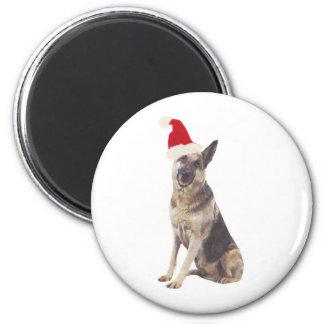 German Shepherd Santa Hat Magnet