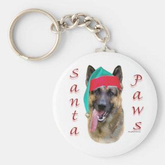 German Shepherd Santa Paws Basic Round Button Keychain