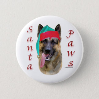 German Shepherd Santa Paws Button