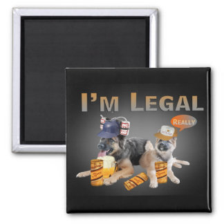 German Shepherd Share A Beer I'm Legal 2 Inch Square Magnet