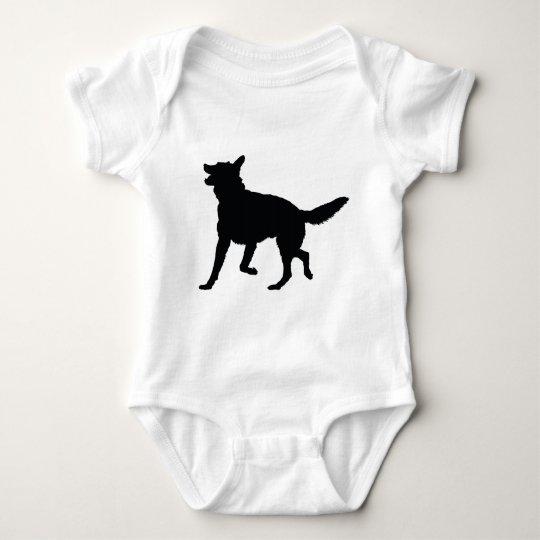 German Shepherd Silhouette Baby Bodysuit