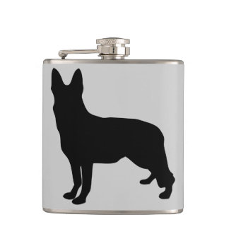 German Shepherd Silhouette Hip Flasks