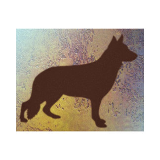 German Shepherd Silhouette on Rustic Canvas Stretched Canvas Prints