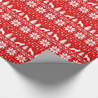 German Shepherd Silhouettes Christmas Pattern Red Wrapping Paper