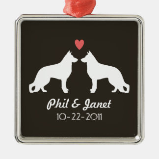 German Shepherd Silhouettes with Heart and Text Metal Ornament