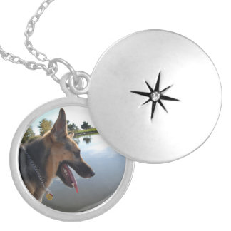 German Shepherd Silver Plated Necklace