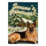 German Shepherd Snow Cabin Christmas Cards