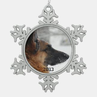 German Shepherd Snowflake Pewter Christmas Ornament