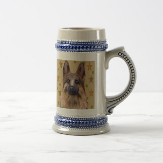 German Shepherd Soldier Art Beer Stein