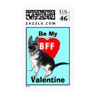 German shepherd Stamp Be My Valentine