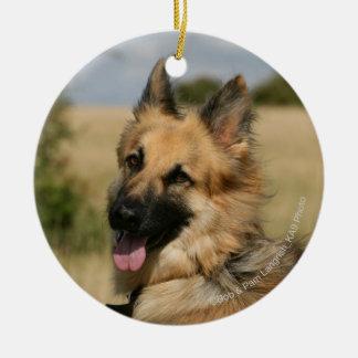 German Shepherd Sticking Tongue Out Ceramic Ornament