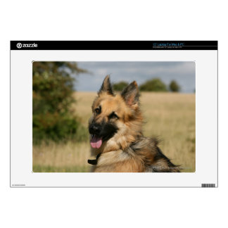 "German Shepherd Sticking Tongue Out Decals For 15"" Laptops"