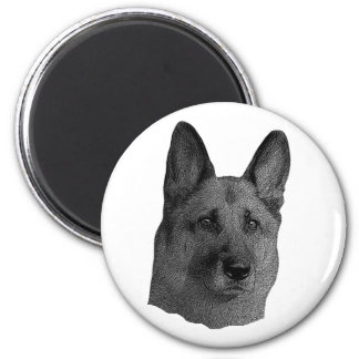 German Shepherd Stylized Image 2 Inch Round Magnet