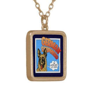 German Shepherd Super Hero Gold Plated Necklace