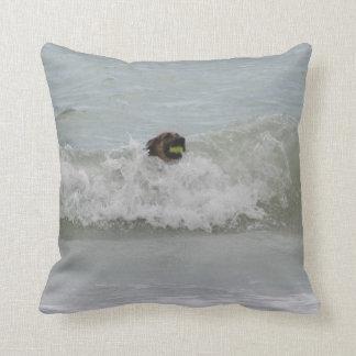 german shepherd swimming in wave pillow