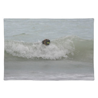 german shepherd swimming in wave placemat