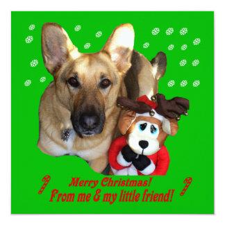 German Shepherd & Toy Reindeer Flat Card