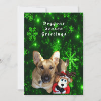 German Shepherd, Toy Reindeer, Green Snowflakes Holiday Card