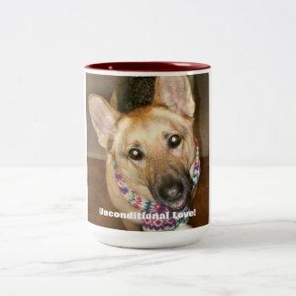German Shepherd, Unconditional Love! Two-Tone Coffee Mug