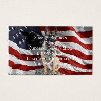 German shepherd usa - patriotic dog - usa flag business card